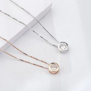 Jewelry - Simple Round CZ Sterling Necklace